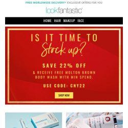 [lookfantastic] Time to stock up? Savings inside...
