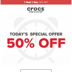 [Crocs Singapore] 【1 Deal 1 Day】 Clogs, Flips & more at 50% OFF! Today ONLY!