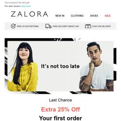 [Zalora] Last Chance! Don't Forget Your Extra 25% Off