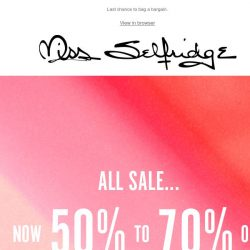 [Miss Selfridge] ALL sale now 50-70% off!