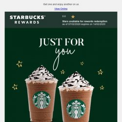 [Starbucks] An exclusive 1-for-1 treat just for you 😊