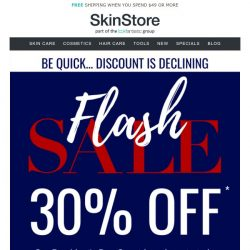 [SkinStore] President's Day FLASH SALE ⚡ 30% Off NOW... but declining