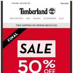 [Timberland] Get 50%* Off on Sale items💰