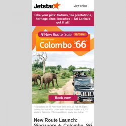 [Jetstar] New Route Sale! ✈ Colombo, Sri Lanka from $66^ only! Travel from July 2020.
