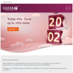 [Qatar] Today only: Save up to 10% more