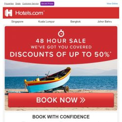 [Hotels.com] ✉ Brilliant news! Discount of up to 50% - Book now!