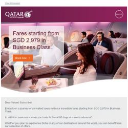 [Qatar] Premium offers. Memorable journeys.  Fares starting from SGD 2,979.
