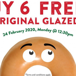 Krispy Kreme: Buy 6 Get 6 Original Glazed Doughnuts FREE on 24 Feb 2020!