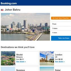[Booking.com] Deals in Johor Bahru from S$ 10