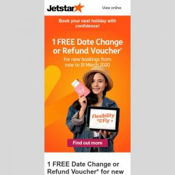[Jetstar] We've heard you! ✈ FREE Date Change or Refund Voucher* for new bookings from 10 to 31 Mar!