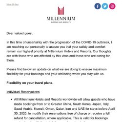 [Hotels.com] Millennium Hotels and Resorts' response to COVID-19
