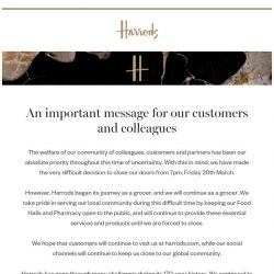 [Harrods] We are closing for a while