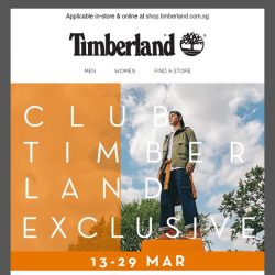 [Timberland] Exclusively for you: Up to 30% off ends this Sunday.