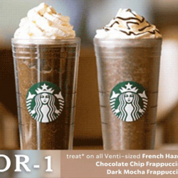 Starbucks: Enjoy 1-for-1 Treat on All Venti-sized French Hazelnut Macchiato, Chocolate Chip Frappuccino & Dark Mocha Frappuccino!