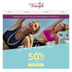 [Triumph] Labour Day work out deals - up to 50% off