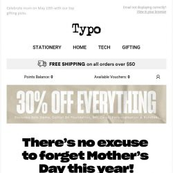 [typo] Don't forget mum! Shop 30% off! ❤️
