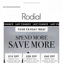 [RODIAL] Final Call: Save Up To £60 💗