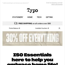 [typo] 30% off everything because you're essential!