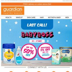 [Guardian] ⏳ Baby Boss ends today! Shop now for up to 50% OFF baby deals