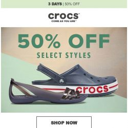 [Crocs Singapore] ✨ Yay! Save 50% for 3 days only