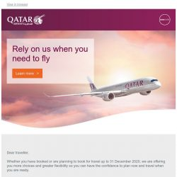 [Qatar] Rely on us when you need to fly