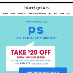 [Bloomingdales] Take $20 off every $75 you spend!