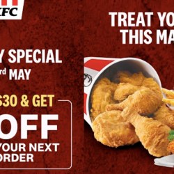 KFC: May Day Special - $5 Off Your Next Order When You Spend $30 This Long Weekend!