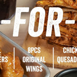 Wing Zone: Enjoy 1-for-1 Deal on All, Burgers, 8 Pcs Original Wings & Chicken Quesadillas via Takeaway!