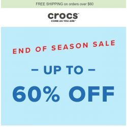 [Crocs Singapore] End of Season Sale: UP TO 60% OFF