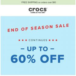[Crocs Singapore] 【Continues】 End of Season Sale: UP TO 60% OFF