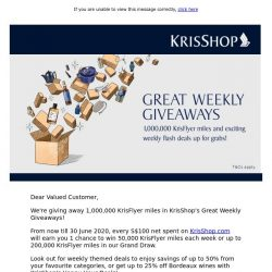 [Singapore Airlines] Win up to 1,000,000 KrisFlyer miles in KrisShop's Great Weekly Giveaways
