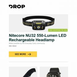 [Massdrop] Nitecore NU32 550-Lumen LED Rechargeable Headlamp, Defcon TD005 D2 Fixed Blade Knife, Bertucci  E-1S Ballista Performance Field Watch and more...