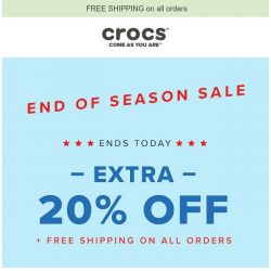 [Crocs Singapore] 【Ends Today】 End of Season Sale: EXTRA 20% OFF + Free Shipping