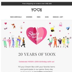 [Yoox] 💕 Share the love: join the game for YOOX's 20th birthday