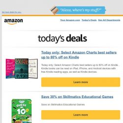 [Amazon] Today only: Select Amazon Charts best sellers...