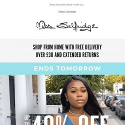 [Miss Selfridge] Up to 40% off everything ENDS TOMORROW