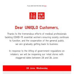 [UNIQLO Singapore] We are looking forward to welcome you back!