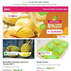 [Fave] It's Durian Season! 😋 Get 5% cashback here 💰