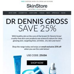 [SkinStore] 25% Off Dr Dennis Gross, Elemis & MORE Exclusives!