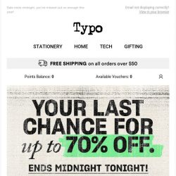 [typo] Last chance for up to 70% off!