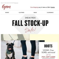 [6pm] Up to 75% off Fall Stock-Up Sale!