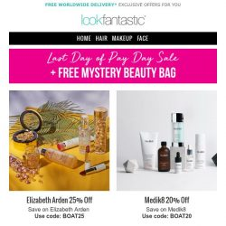 [lookfantastic] LAST CHANCE PAY DAY SALE