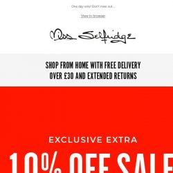 [Miss Selfridge] EMAIL EXCLUSIVE: Extra 10% off sale 🚨