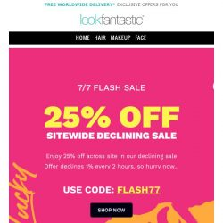 [lookfantastic] 7/7 FLASH SALE 24 Hours Only