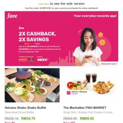 [Fave] 2x more savings & rewards with e-Cashback!