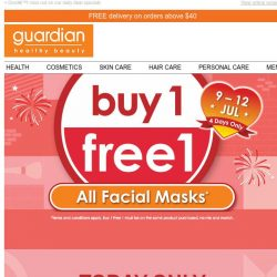 [Guardian] ✨ 4 Days Only - BUY 1 FREE 1 on ALL facial masks starts today!