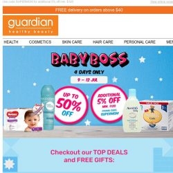 [Guardian] 👶 Calling all parents – shop now to enjoy up to 50% OFF your baby's needs