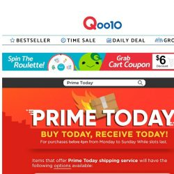 [Qoo10]  Going out for a grocery run? Why not try Prime Today! Groceries and daily essentials, all delivered to you!