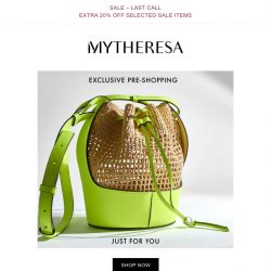 [mytheresa] Exclusive pre-shopping: Burberry, LOEWE + last call: extra 20% off selected sale items
