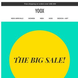 [Yoox] THE BIG SALE! Up to 70% OFF for four days
